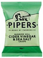 Piper Crisps 24 x 40gm  Burrow Hill Cider Vinegar and Sea Salt Crisps 40g